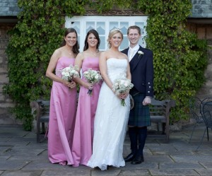 Lisa and Mark with bridesmaids, Greywalls, Edinburgh