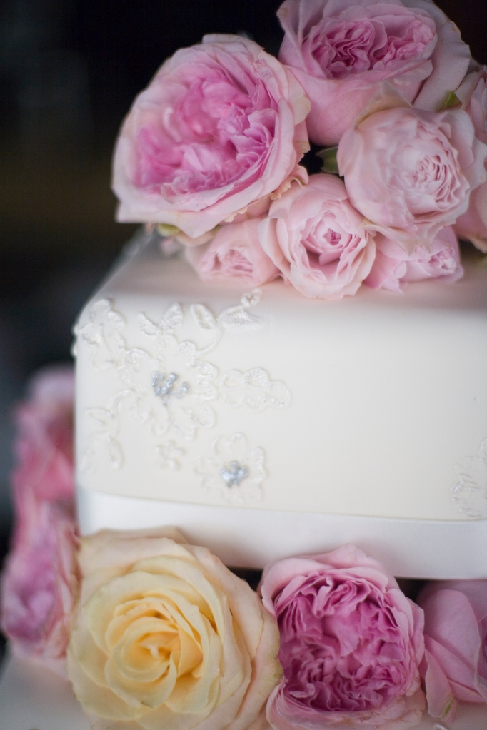 The wedding cake with David Austin roses good enough to eat.